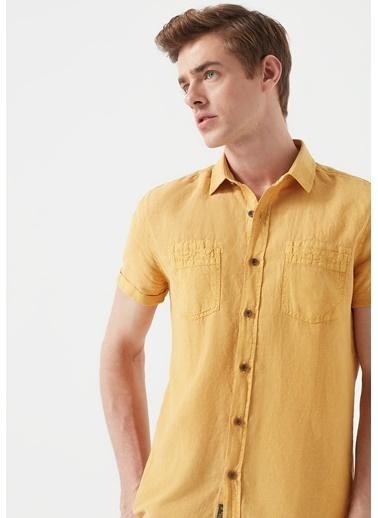 Mavi Kısa Kollu  Keten Gömlek Sarı